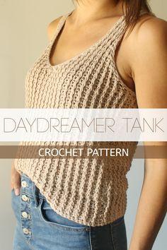 Daydreamer Tank - A flattering, textured, deep v-neck tank. - Daydreamer Tank – A flattering, textured, deep v-neck tank. T-shirt Au Crochet, Bonnet Crochet, Pull Crochet, Mode Crochet, Crochet Shirt, Crochet Crop Top, Crochet Woman, Crotchet, Knitted Tank Top