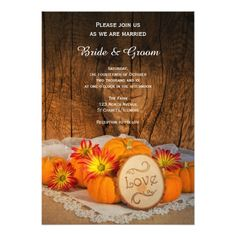 Fall Wedding Invitations Rustic Pumpkins Fall Wedding Invitation