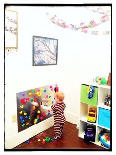 Magnet wall for kids playroom, LOVE it!