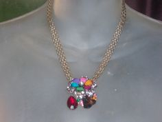 Vintage Napier style Wide Gold chain with Burst of Rhinestone Multi-color Pendant