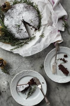 Flourless Chocolate, Chestnut and Rosemary Cake (Torta di Castagna, Rosmarino e Cacao)