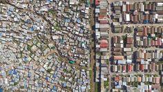 """""""Luftaufnahmen geben dem Betrachter das Gefühl, die Welt objektiv aus der Distanz zu betrachten und nicht manipuliert zu werden"""", sagt Miller. Dieses Foto zeigt die Siedlung Sweet Home in Kapstadt."""