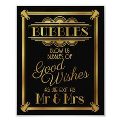 Shop art deco, Wedding bubble sign wedding poster, created by TheArtyApples.
