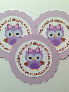 Sweet purple owl baby diaper raffle tags on Etsy, $6.00