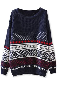 Women's Fashion Clothing Southwestern Drop-Sleeves #Sweater - OASAP.com Free Shipping Code: fs2014 Over $30