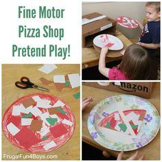 Pizza Shop Pretend Play Fine Motor Activity - Frugal Fun For Boys and Girls Fun Activities For Preschoolers, Cutting Activities, Motor Activities, Preschool Crafts, Preschool Activities, Crafts For Kids, Diy Crafts, Indoor Activities, Kindergarten Stem