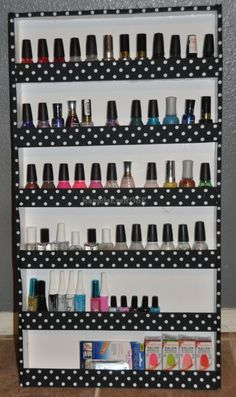 DIY Polka Dot Nail Polish Rack. If you are the least bit crafty you can make your own. Organize all of your nail polishes in a cute and cheap way ($8.00) @ Home Improvement Ideas