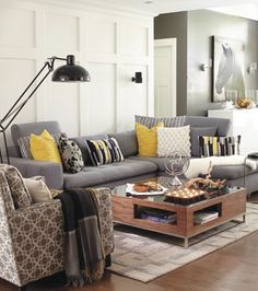 Salon gris-blanc-jaune Yves Lefebvre - How to layer cushions Grey And Yellow Living Room, New Living Room, Home Decor, House Interior, Apartment Decor, Home Deco, Living Room Grey, Interior Design, Living Decor