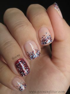 Goose's Glitter-Forth of July. Not so in-your-face Independence Day nails