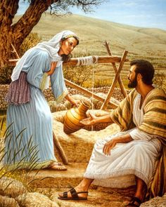 Jesus talks with a Samaritan woman at a well