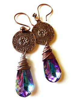 Mandala copper flower charms, copper wire wrapped and violet purple crystal earrings.