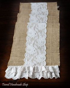 burlap and lace | Burlap and Lace Table Runner 12x84 by Teomil on Etsy