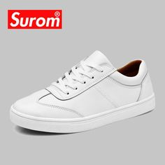 1c43622f9042 SUROM Men s White Leather Casual Shoes Sneakers Brogue Style Fashion Flats  Brand Spring Autumn Male Shoes Loafers Krasovki Men