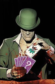 The Joker and Riddler are each determined to kill Batman and either would sooner burn down entire Gotham than be beaten to the punch line. The Riddler, Riddler Gotham, Dc Universe, Batman Universe, Gotham Villains, Comic Villains, Comic Books Art, Comic Art, Book Art
