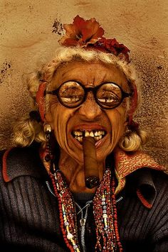 """A challenge with this photo.obviously good dental care was not available. Lots of character in this character's face. She's one of the many famous faces of Havana Cuba, and sits next to Bar Bodeguito del Medio. Some call her """"La Famosa"""" We Are The World, People Around The World, Hobgoblin, Havana Cuba, Many Faces, Portraits, Photoshop, Interesting Faces, Portrait Photo"""