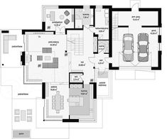Rzut parteru projektu Dom z widokiem Duplex House Design, Modern House Design, Contemporary Design, Modern Floor Plans, Bedroom Apartment, Beautiful Interiors, Midcentury Modern, Planer, House Plans