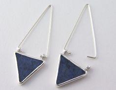 Edith Toledano - Fine & sterling silver triangle earrings with semi precious blue jasper stone.