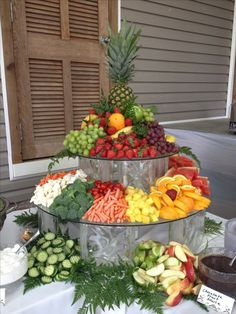 Fruit & Veggie Display by Shady Oaks Catering Party Platters, Party Trays, Food Platters, Party Buffet, Veggie Display, Veggie Tray, Vegetable Trays, Appetizer Table Display, Cheese Display