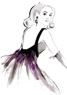 """Shall We Dance?!"" inspiration: French Vogue 1961 Magazine Ad. Fashion illustration by Kornelia Debosz"