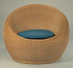 Round Rattan Chair by Isamu Kenmochi 1960