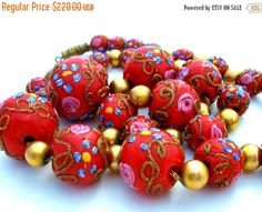 Sale Wedding Cake Bead Necklace Red Glass by TheJewelryLadysStore
