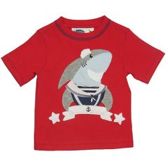 Boys Red T-Shirt - Shark - Baby Boy Tops - Boys - Little Chickie
