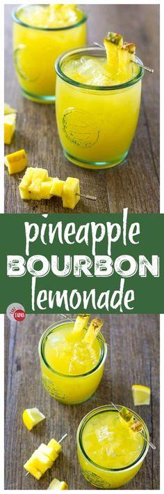 Pineapple Bourbon Lemonade to start your weekend Take Two Tapas Pineapple Cocktail, Lemonade Cocktail, Cocktail Drinks, Cocktail Recipes, Pineapple Juice, Pineapple Alcohol Drinks, Cocktail Cake, Margarita Recipes, Bourbon Drinks
