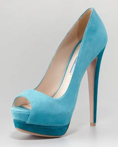 Suede Two-Tone Pump, Turquoise by Prada at Neiman Marcus.