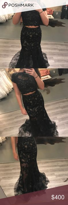 Shop Women's Sherri Hill Black size 6 Prom at a discounted price at Poshmark. Description: Black lace two piece Sherri Hill prom dress, with some silver beads. Size: worn one time. Sherri Hill Prom Dresses, Black Prom Dresses, Dress Black, Formal Dresses, Silver Beads, Stylists, Lace, Closet, Things To Sell