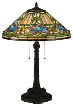 Floral stained glass table lamp. #spring #decor