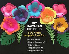 svg Paper Flower Hibiscus Template, TROPICAL SET:Hawaiian Flower,3 Centers,2 Tropical leaves, base. DIY Tropical Flowers, cricut, silhouette