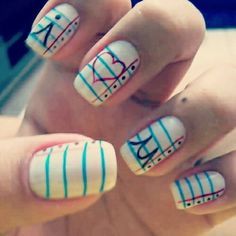 Lined paper nails I❤U