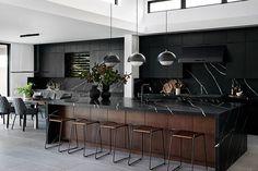 Step Inside a Rule-Breaking All-Black Kitchen by Bobby Berk MyDomaine Modern Kitchen Design, Interior Design Kitchen, Home Design, Black Interior Design, Interior Sketch, Interior Livingroom, French Interior, Interior Doors, Contemporary Interior