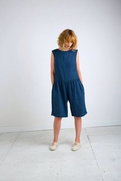 Navy Blue Linen Jumpsuit - Sleeveless Linen Jumpsuit - Blue Linen Overall - Women Jumpsuit - Women Overall - Handmade by OFFON by OffOn on Etsy