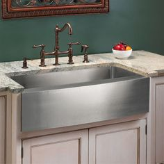 """Optimum Stainless Steel Single Well Curved Apron Farmhouse Sink - 27"""", 30"""", 33"""", 36"""""""
