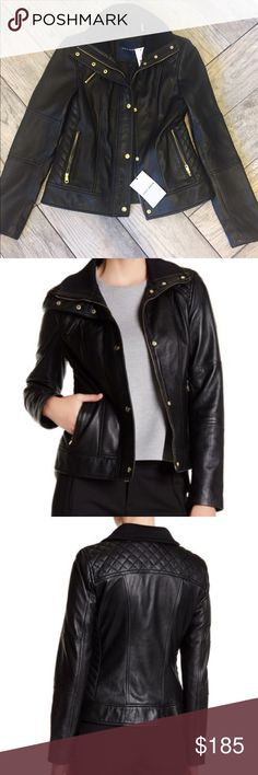 """🎉Cole Haan Genuine Lambskin Zip Front Jacket🎉 Cole Haan Genuine Lambskin Zip Front Jacket. Brand new with tags!! Retails for $299.97.     Approx. 22"""" back length, 24"""" front length.      Details: Mock collar with snap closure, Long sleeves, Covered front zip closure, Snap placket, 3 front zip pockets, Perforated contrast, Lined, Genuine lambskin leather Shell: 100% genuine lambskin Lining: 100% polyester Care: Professional leather clean only Cole Haan Jackets & Coats"""
