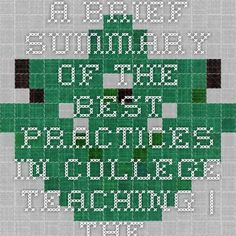 A Brief Summary of the Best Practices in College Teaching | The Center for Teaching and Learning | UNC Charlotte