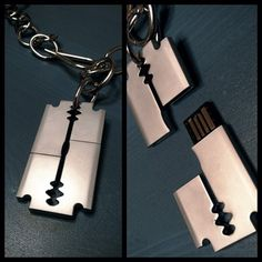 Razor blade USB - Assume it's not sharp enough to slash your pocket lining or wrists, but cool all the same.
