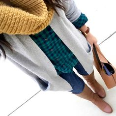 Putting Me Together: green and blue plaid shirt+jeans+brown knee high boots+grey knit long cardigan+brown tote bag+mustard knit scarf. Fall Casual Outfit 2016