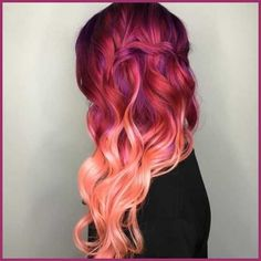 Rosa Haare 2019 - Beatiful rose red ombre wavy hair style dyed by - Frauen Frisuren Dye My Hair, New Hair, Unicorn Hair Color, Red Ombre Hair, Coral Hair, Peach Hair, Blonde Hair, Purple Hair, Pink Hair Colors