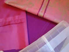 Four beautiful ways you can seam a garment include (clockwise from top) Hong Kong finish, flat-fell seam, French seam, and pinked seam.
