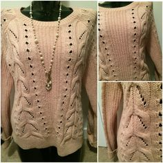 Encore Boutique -$32CAD - Crew neck open-knit sweater with braided knit detail