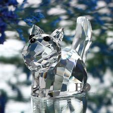 Cute Cat Cut Glass Crystal Animal Figurines Ornament Collectible...