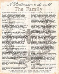 The Three Sweet Peas: {Inspirational Sundays} The Family Proclamation