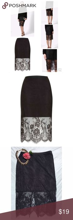 """Topshop pencil lace overlay skirt 6 Excellent pre-loved condition! 100% nylon. Approx 28"""" waist, approx 30"""" hips, 25"""" in length. Pair with a crop top and heels for a night out! ✅offers❌trades/PP bundles save 20% off 2+ Topshop Skirts Pencil"""