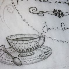 Sketching has begun for a new Jane Austen-inspired art piece. Maybe it's just the weather, but I have been drinking copious amounts of hot tea lately. I think Jane would approve. Pencil, drawing, sketch, teacup. By Shalom Schultz Designs.