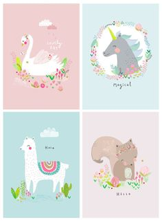 Aless Baylis for Petite Louise New Postcards & Postcards #illustration #swan #squirrel #unicorn #alpaca