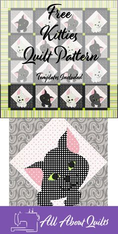 What little wee child wouldn't love to snuggle under this adorable applique quilt. Quilt Design, Quilting Designs, Quilt Patterns Free, Free Pattern, Cat App, Black And White Quilts, Cat Quilt, 52 Weeks, Applique Quilts