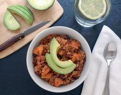 http://thesimpleveganista.blogspot.com/2013/03/sweet-potato-quinoa-chili.html