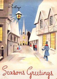 Street Scene People Church Art Deco Christmas Card